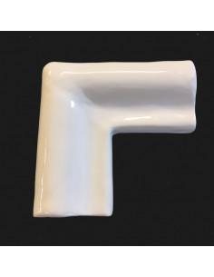 Listel d'angle modèle corniche en faience émaillée couleur unie blanc