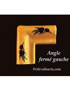 Listel d'angle modèle corniche en faience émaillée couleur unie jaune provençal motif olives noires