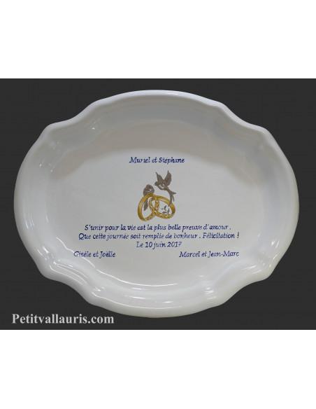 Grand plat faience blanche ovale avec inscription personnalisée motif colombes et alliances