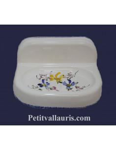 Porte savon en céramique blanche modèle mural décor artisanal Fleurs bleues et jaunes orangées
