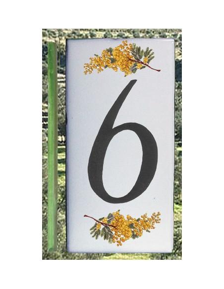Numero de rue chiffre 6 décor brins de mimosas
