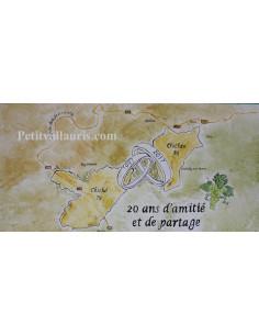 Grande plaque-fresque décorative en faience extérieure motif jumelage communes avec gravure personnalisée