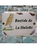 Plaque pour entrée de maison en céramique personnalisée motif Chouette Hulotte