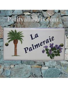 Plaque personnalisée pour maison en céramique motif palmier + bouquet de violette