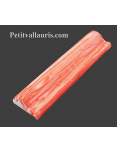Listel modèle corniche en faience émaillée couleur rouge clair