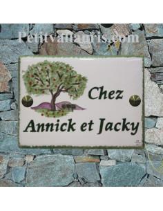 plaque de maison céramique personnalisée décor motif pommier inscription couleur verte