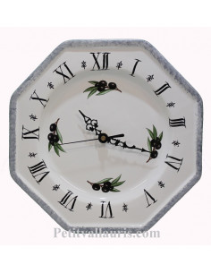 Horloge murale en faience modèle octogonale blanche bord gris provence et motif Olives noires