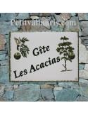 Plaque de maison en faïence personnalisée motif Acacias