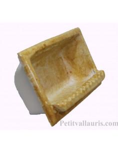 Porte savon en faience modèle rectangle à encastrer de couleur dégradée ocre jaune brillant