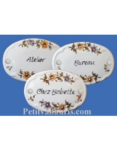 Plaque de porte ovale vieux moustiers fleurs polychrome