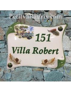 Plaque de Maison en céramique modèle parchemin 14x21 décor calanque + cigale + pignes de pin inscription personnalisée