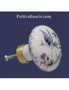 Bouton de placard en porcelaine motif oiseauTradition bleu (diamètre 60 mm)