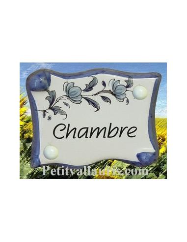 Plaque de porte parchemin Chambre vieux moustiers bleu