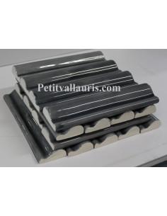 Listel modèle corniche en faience émaillée couleur gris brillant