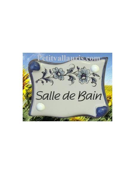 Plaque de porte modèle parchemin décor tradition fleurs bleues avec inscription Salle de Bain