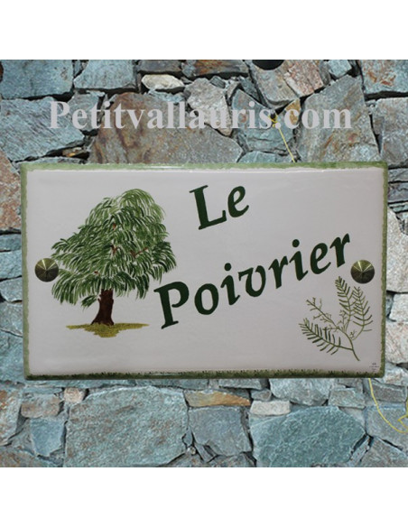 Plaque gravure et dessin personnalisé pour votre maison en faïence motif artisanal poivrier