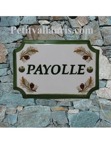 Plaque de Maison en faience émaillée motif pomme de pin marquage personnalisée verte