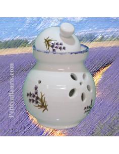 Pot à ail en faïence blanche décor Brin de Lavande pour votre ciuisine