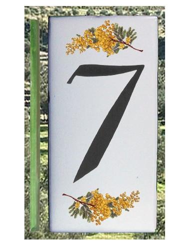 Numero de rue chiffre 7 décor brins de mimosas