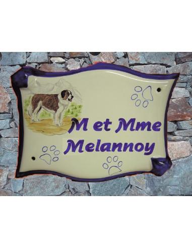 Grande plaque de maison en faience modèle parchemin avec motif artisanal chien Saint Bernard + personnalisation
