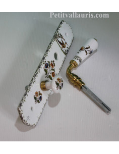 Plaque de porte-propreté en porcelaine avec verrou décor Tradition polychrome