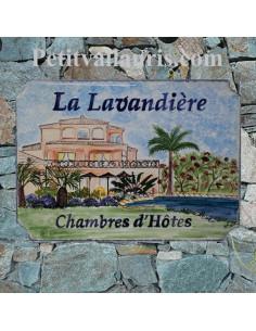 Grande Plaque de villa en faience décor d'après photo grande maison de client dans le languedoc + inscription personnalisée
