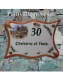 Plaque de maison en céramique modèle parchemin décor cabanon + olives et cigale en relief