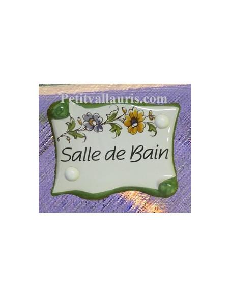 Plaque de porte modèle parchemin décor tradition fleur polychrome avec inscription Salle de Bain
