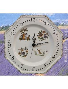 Horloge murale en faïence modèle octogonale reproduction Vieux Moustiers polychrome