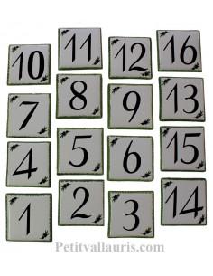 Numéro de maison en faience décor brins d'olives et noires + chiffre noir personnalisé