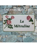 Plaque en céramique pour entrée de Maison modèle rectangle décor les rosiers avec gravure personnalisée