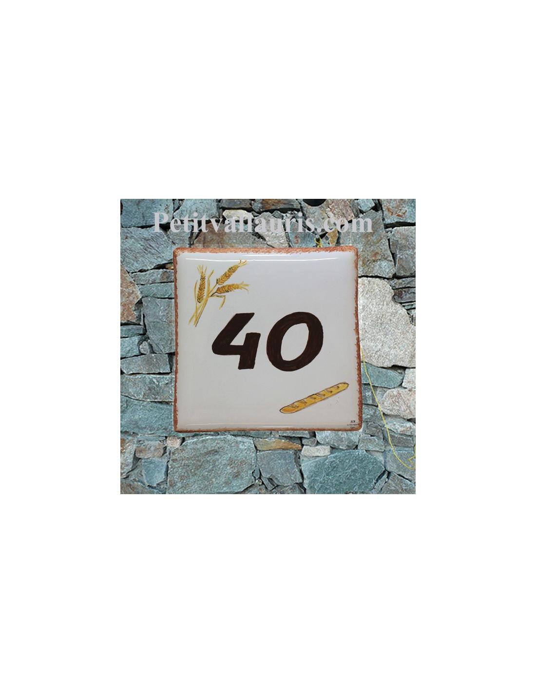 Plaque num ro de maison en faience motif baguette de pin et pis de bl inscription - Plaque de numero de maison ...