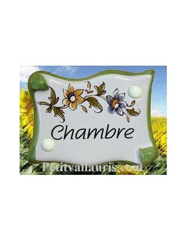 Plaque de porte parchemin Chambre vieux moustiers polychrome