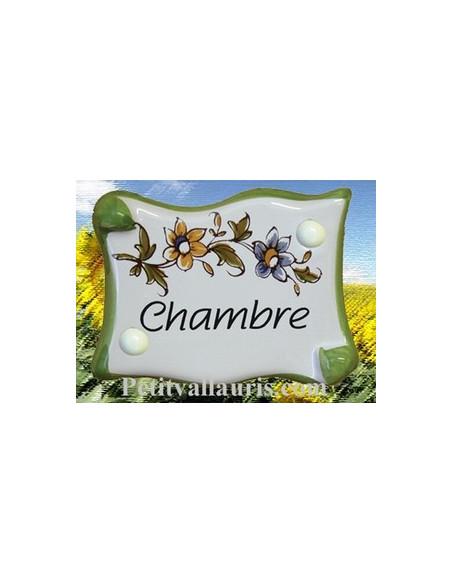 Plaque de porte modèle parchemin décor tradition fleur polychrome avec inscription Chambre