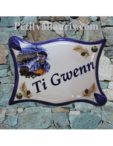 Plaque de maison modèle parchemin en céramique motif le Patron pécheur Breton personnalisation bleu