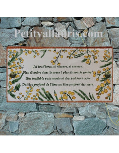 Grande plaque de maison rectangle en faience 40 x 20 cm décor artisanal mimosas + personnalisation