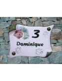 Agrandir l'image Plaque de maison en faience modèle parchemin motif chat (n° 6) + inscription personnalisée + contour vert