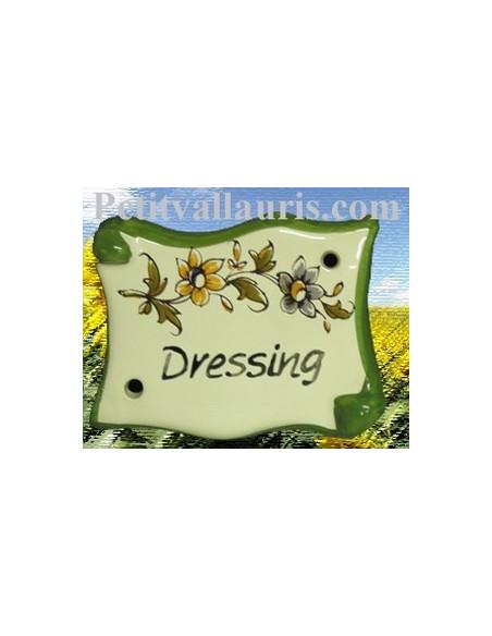Plaque de porte modèle parchemin décor tradition fleur polychrome avec inscription Dressing
