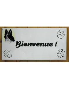 Plaque rectangulaire de maison en céramique émaillée motif Border Collie + inscription personnalisée