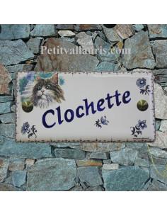 Plaque rectangulaire de maison en céramique émaillée motif chat sibérien modèle n°5 + frise et personnalisation