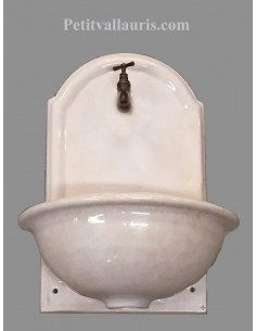 Fontaine lave main murale en céramique couleur blanc cassé modèle taille 2