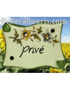 Plaque de porte parchemin Privé vieux moustiers polychrome