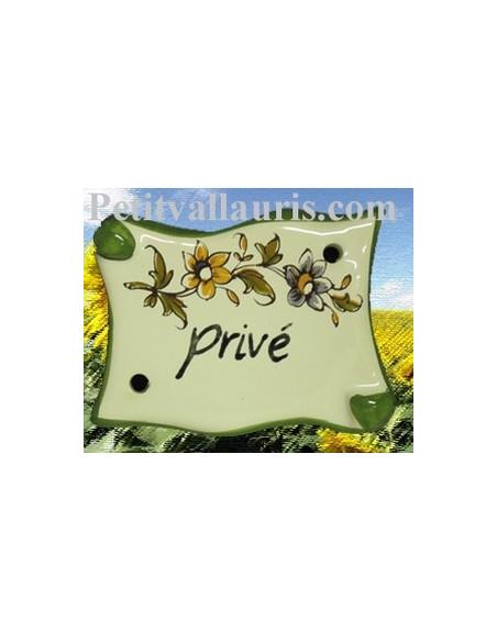 Plaque de porte modèle parchemin décor tradition fleur polychrome avec inscription Privé