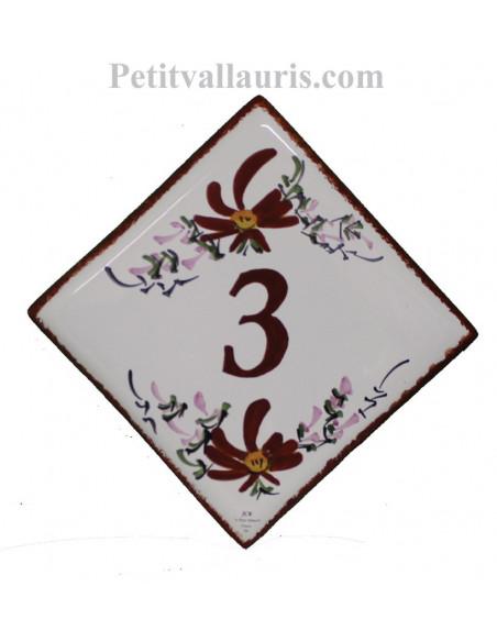 Numéro de rue ou de maison céramique + gravure personnalisée décor fleurs rouges