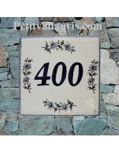 Numéro de Maison en faience motif fleurs camaieux bleu + chiffre personnalisé