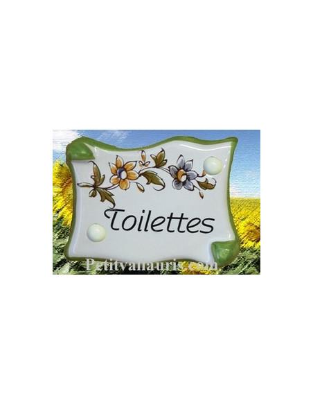 Plaque de porte modèle parchemin décor tradition fleur polychrome avec inscription Toilettes