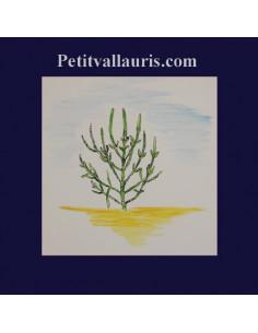 Carrelage décor plante marine salicorne sur 20 x 20 cm
