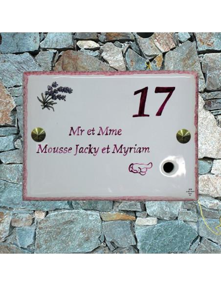 Plaque de maison en céramique pré percée pour sonnette avec gravure nom et (ou) chiffre personnalisés motif Lavandes