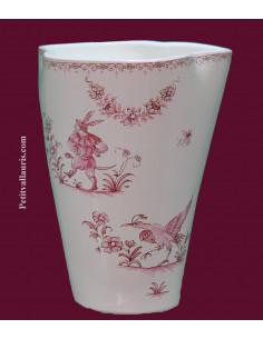 Vase modèle Glaïeul en faïence décor reproduction Moustiers rose H20 cm