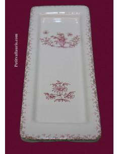 Repose-porte cuillère en faïence reproduction décor Tradition décor Tradition Vieux Moustiers rose